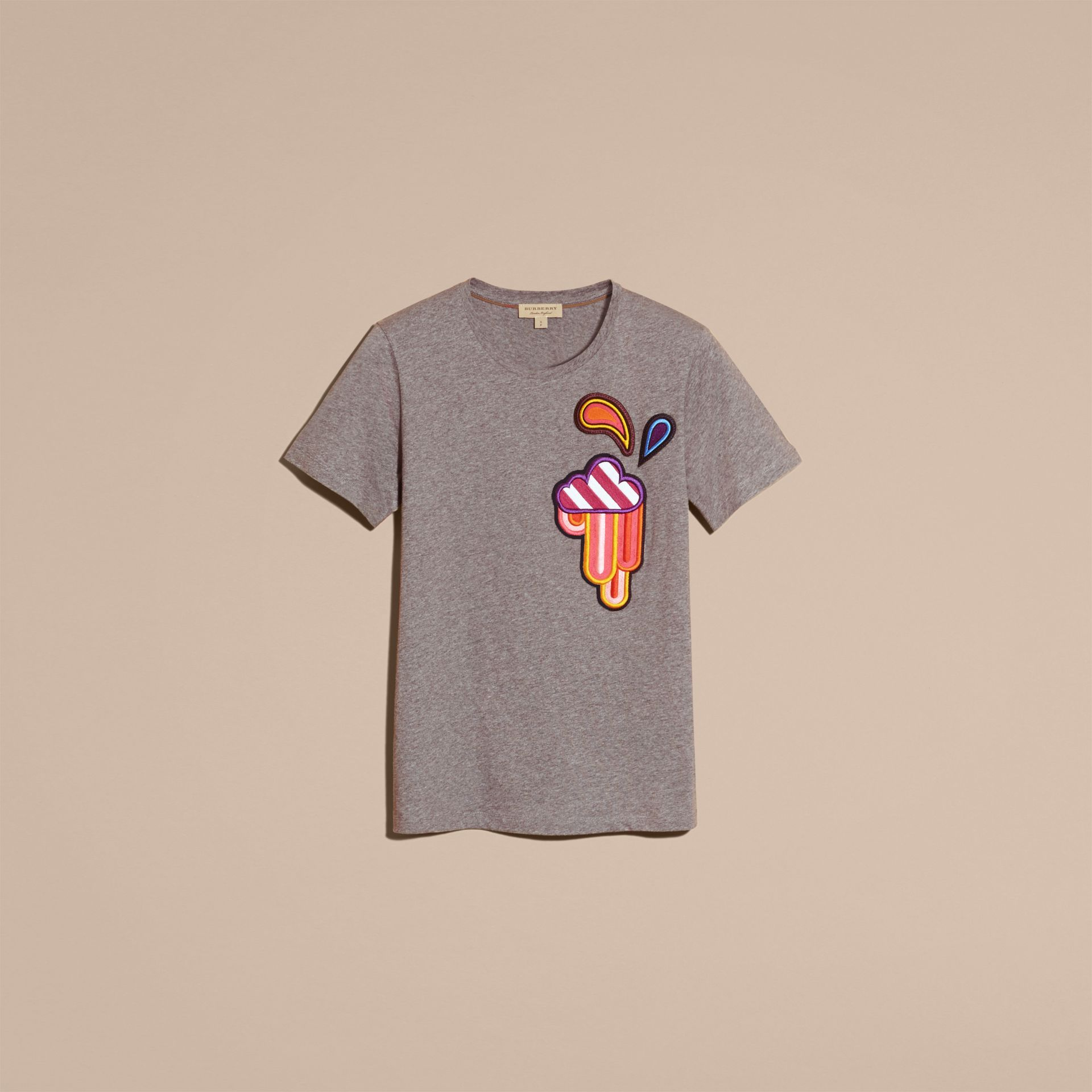 Appliquéd Weather Motif Cotton T-shirt Mid Grey Melange - gallery image 4