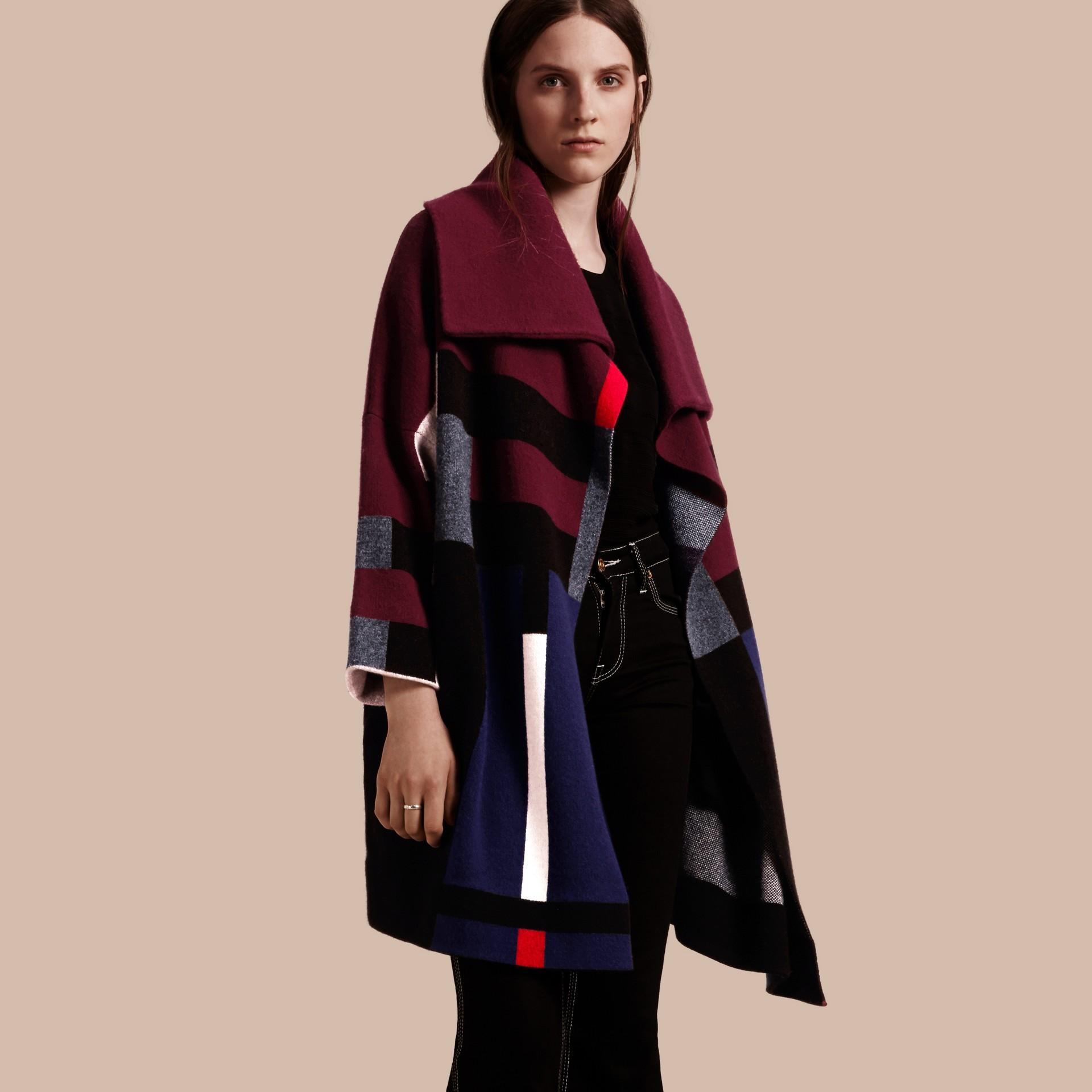 Nero Cappotto cardigan in lana e cashmere con motivo tartan - immagine della galleria 6