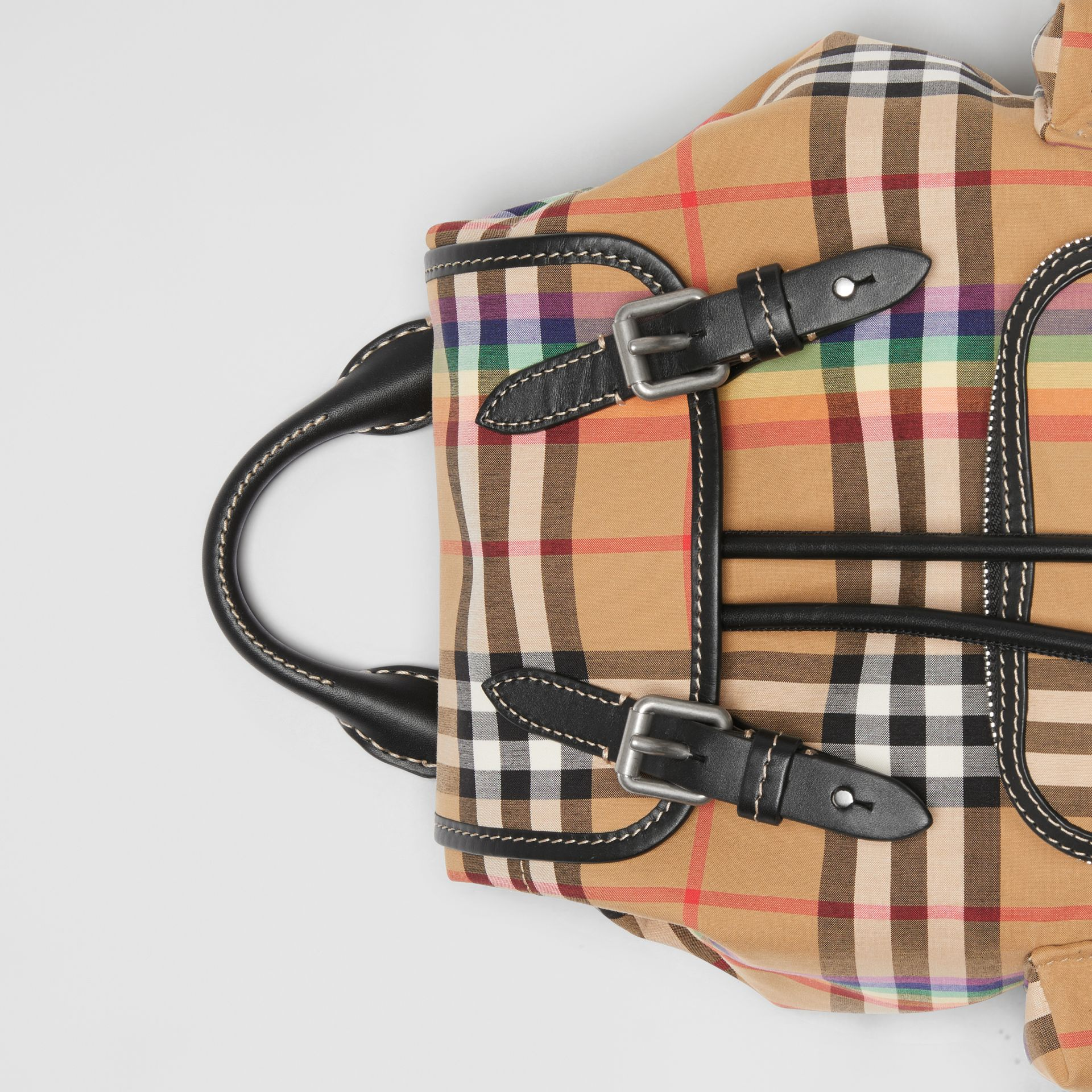 The Small Crossbody Rucksack in Rainbow Vintage Check in Antique Yellow - Women | Burberry United Kingdom - gallery image 1