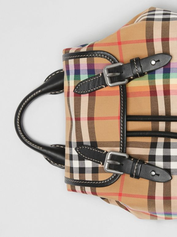 The Small Crossbody Rucksack in Rainbow Vintage Check in Antique Yellow - Women | Burberry United Kingdom - cell image 1