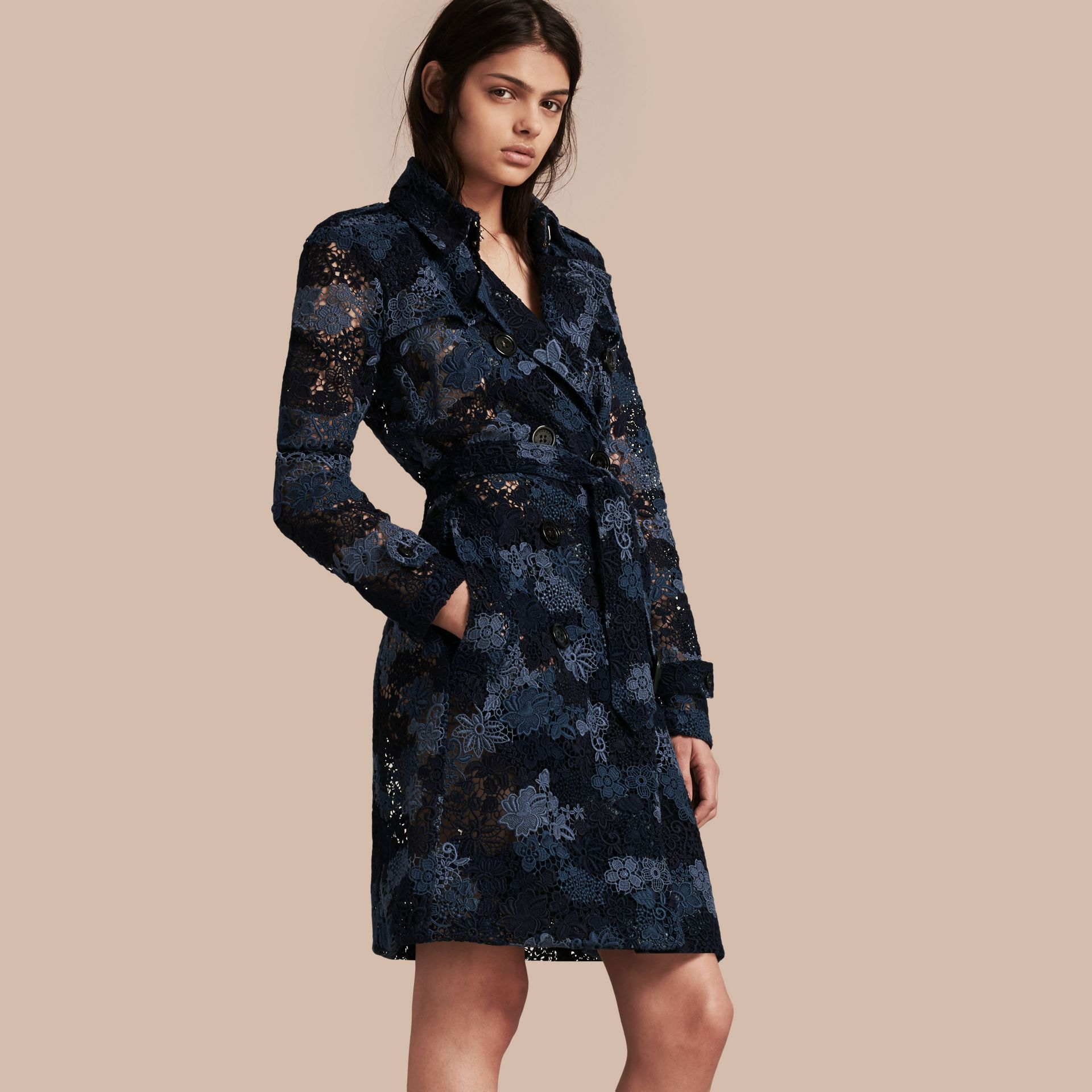 Ink blue Floral Italian Macramé Lace Trench Coat - gallery image 1