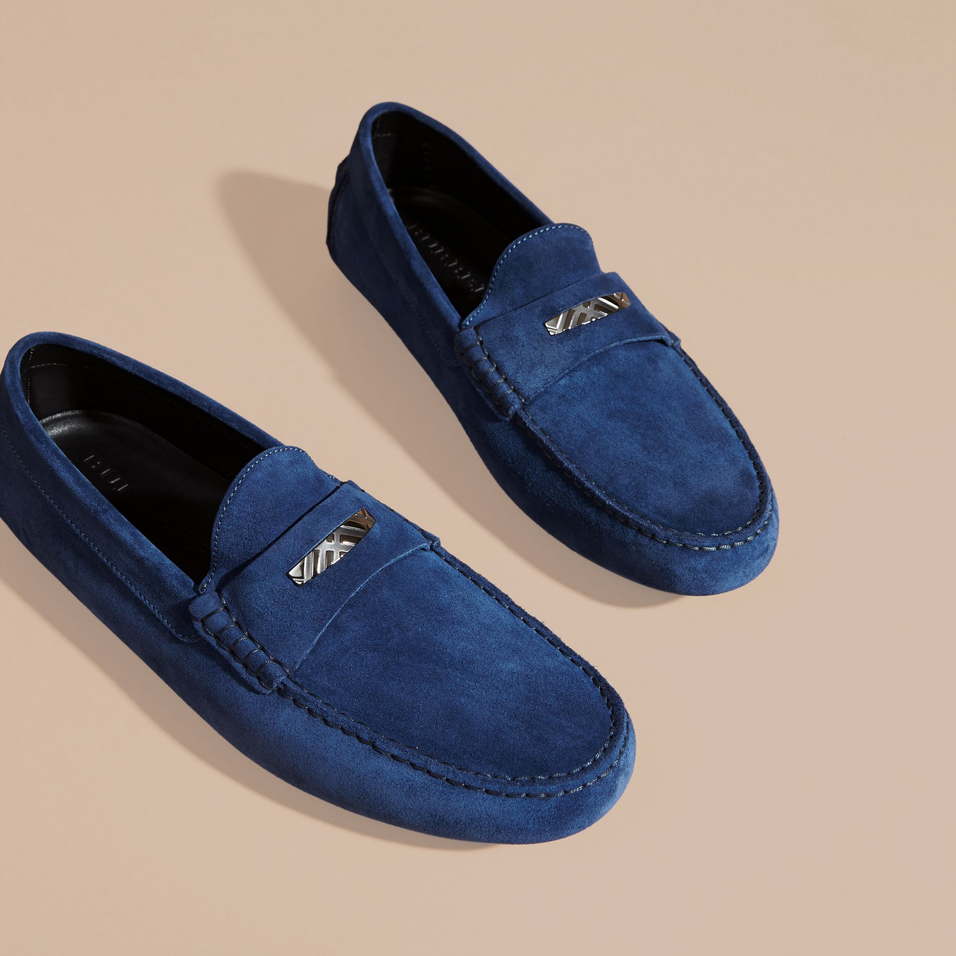 Suede Loafers with Engraved Check Detail in Dragonfly Blue - gallery image 3