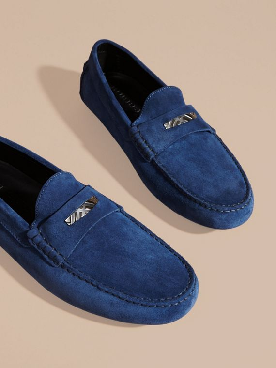 Suede Loafers with Engraved Check Detail in Dragonfly Blue - cell image 2