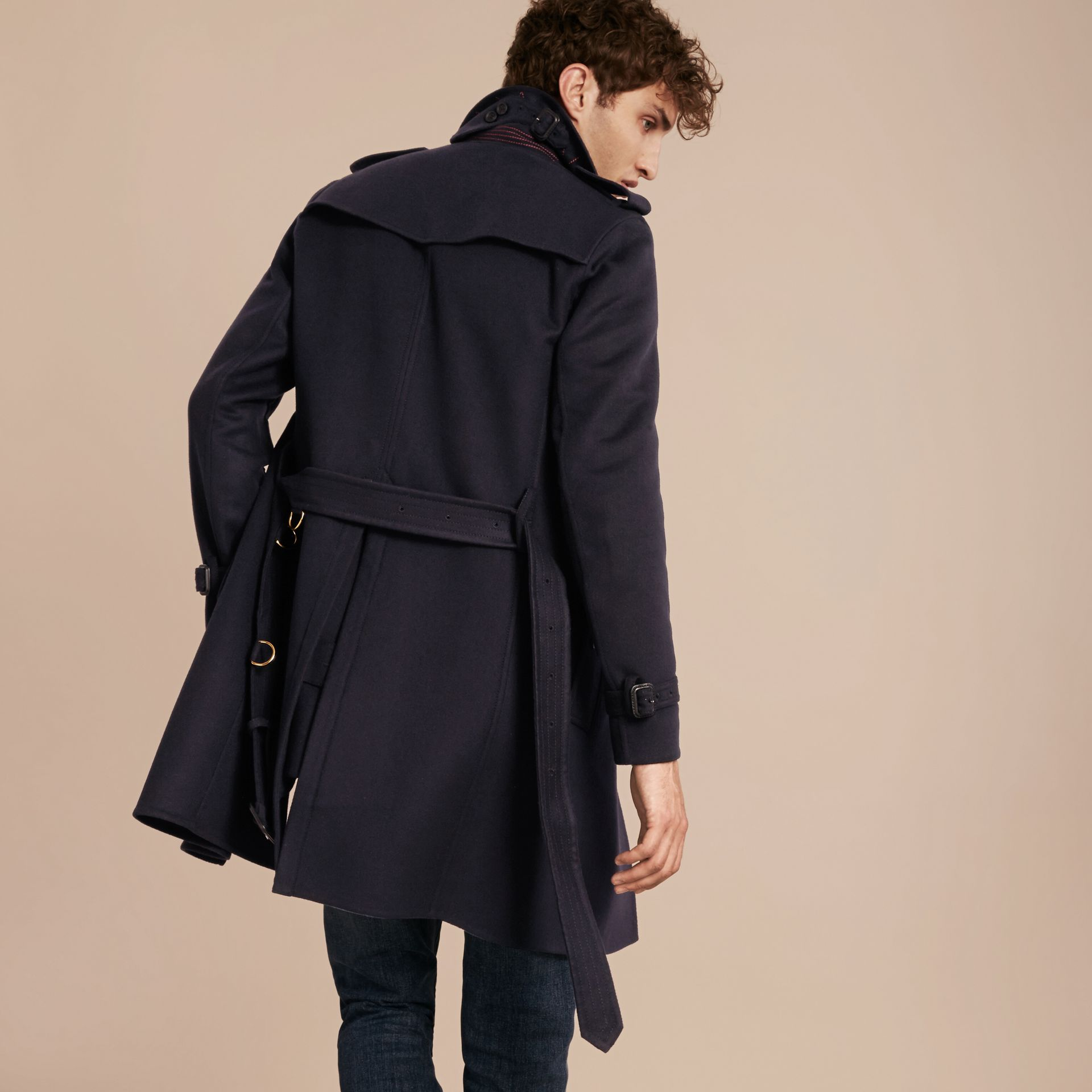 Navy Cashmere Wool Trench Coat - gallery image 3