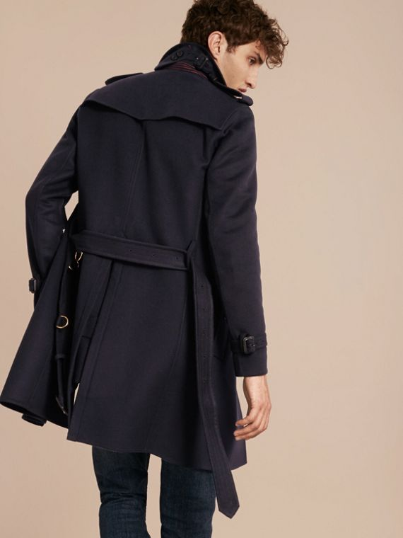 Navy Cashmere Wool Trench Coat - cell image 2