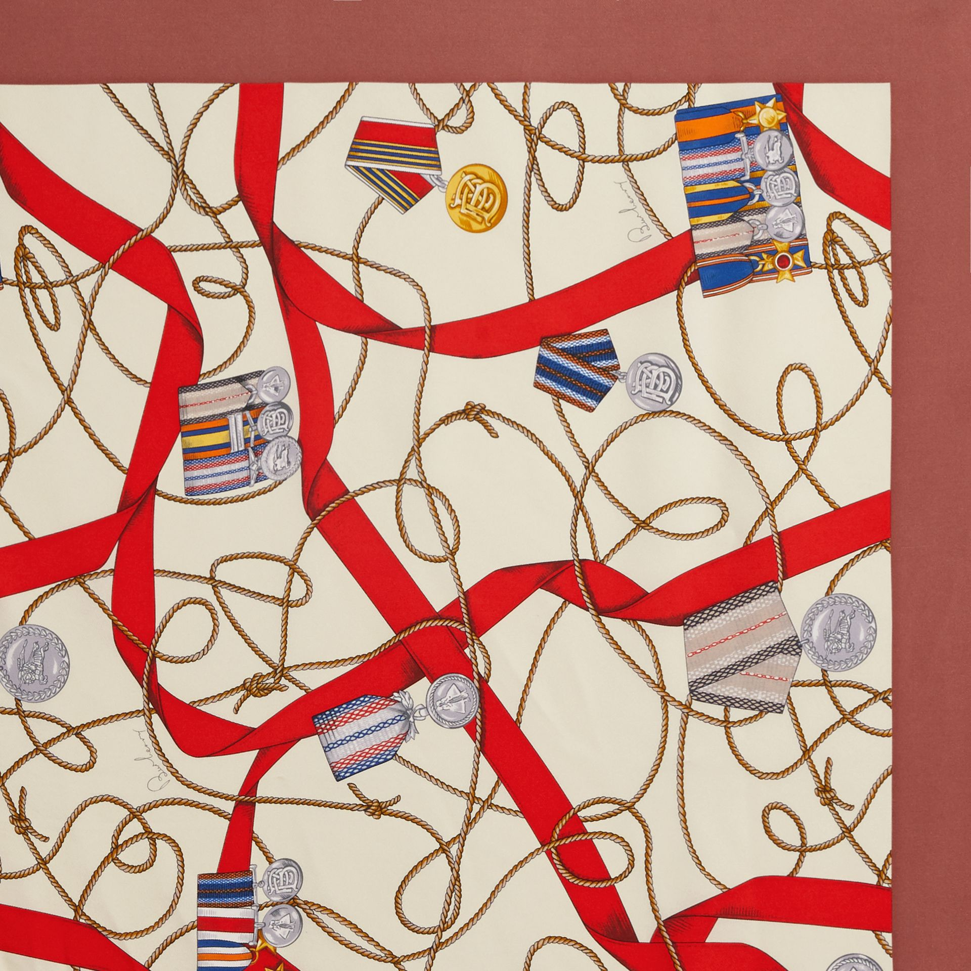Archive Scarf Print Silk Square Scarf in Military Red | Burberry - gallery image 1