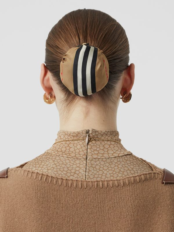 Icon Stripe Silk Chignon Cover in Beige | Burberry Hong Kong S.A.R - cell image 2