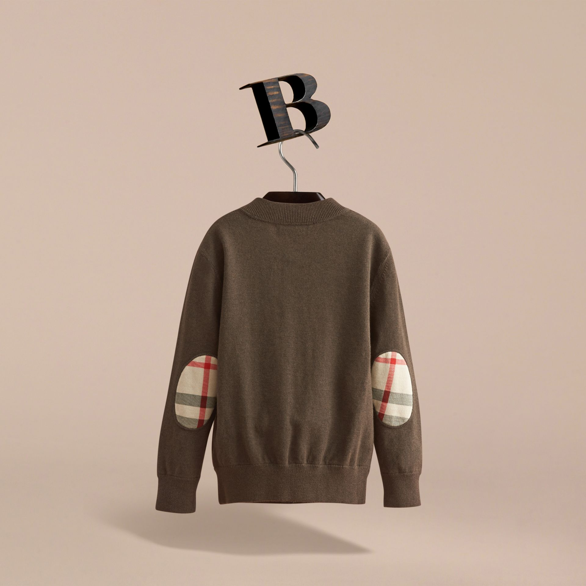 Check Detail Cotton Zip-front Cardigan in Olive Melange - Boy | Burberry - gallery image 3