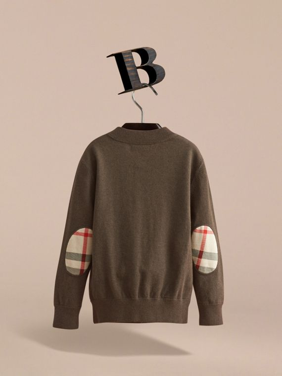 Check Detail Cotton Zip-front Cardigan - Boy | Burberry - cell image 3