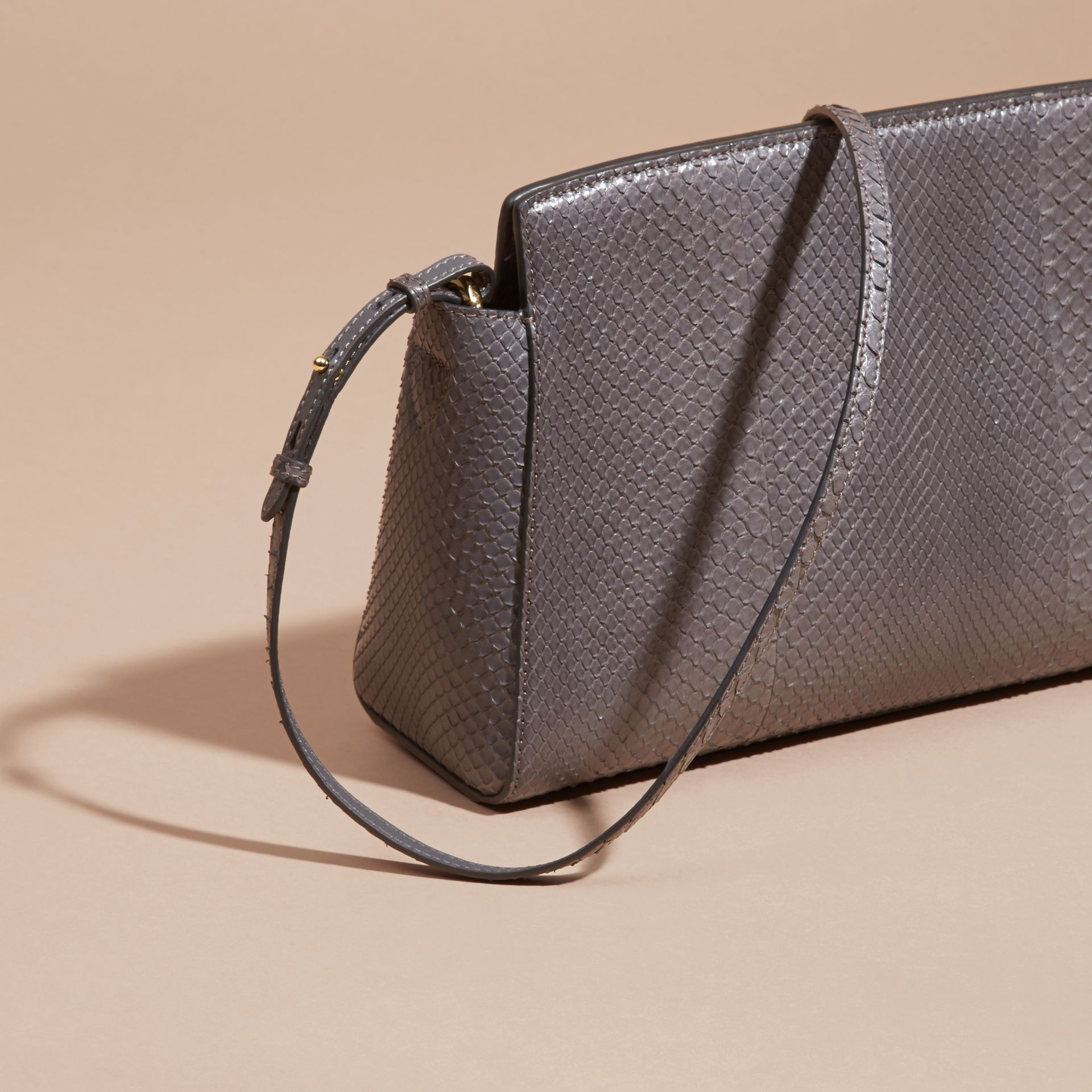 Sepia grey The Saddle Clutch in Python - gallery image 5
