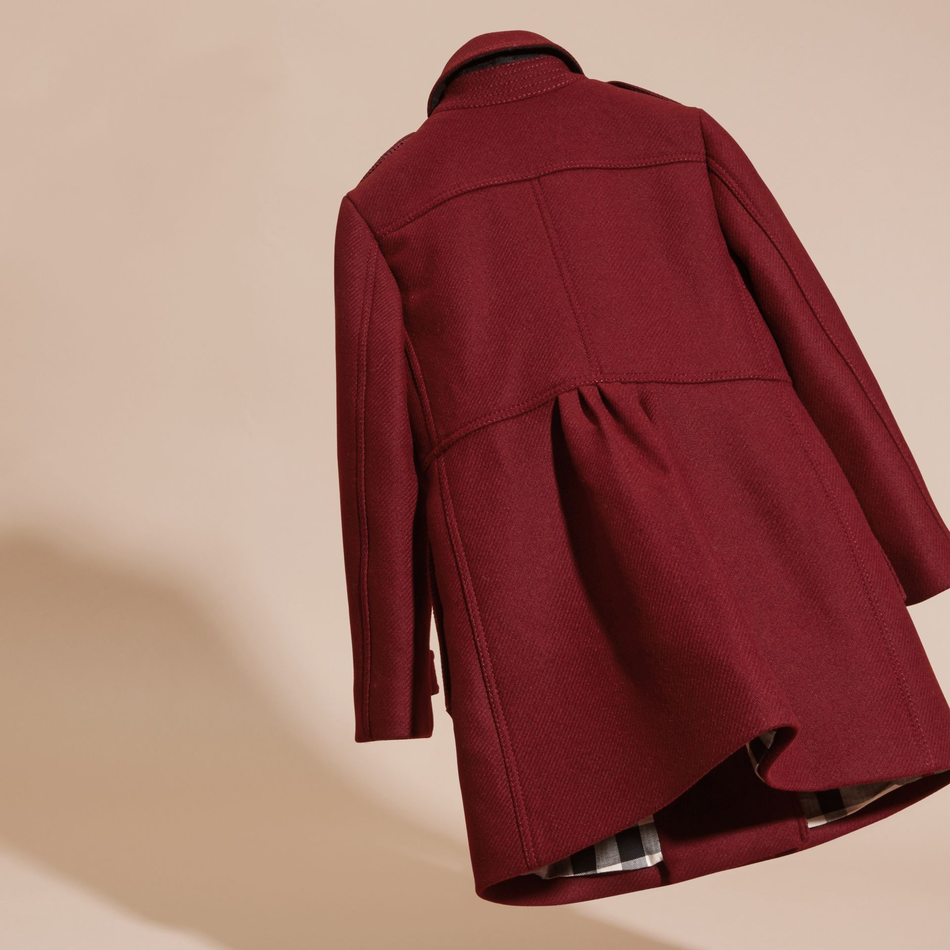 Deep claret Tailored Wool Cashmere Blend Coat Deep Claret - gallery image 4