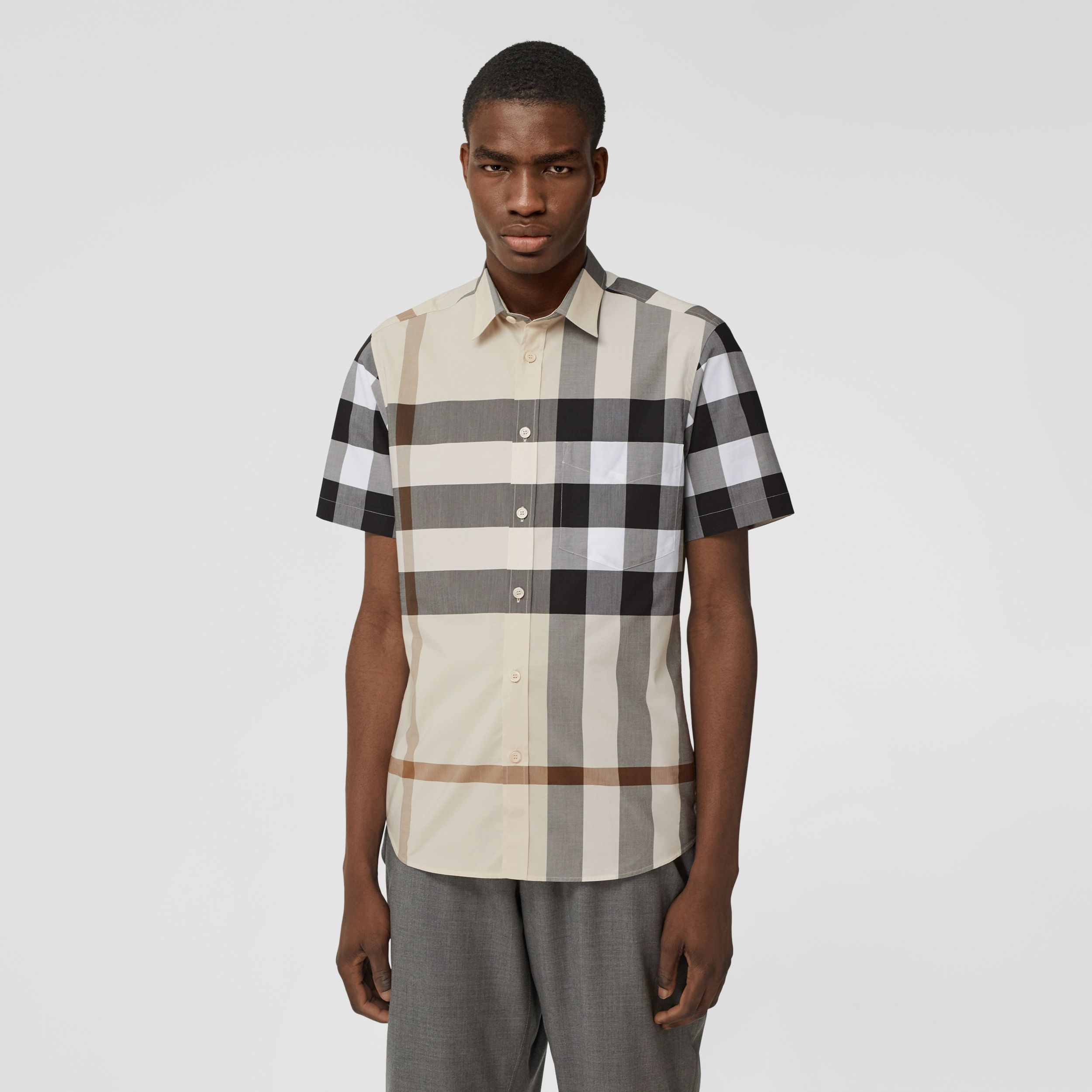 Short-sleeve Check Stretch Cotton Poplin Shirt in Modern Beige - Men | Burberry - 1