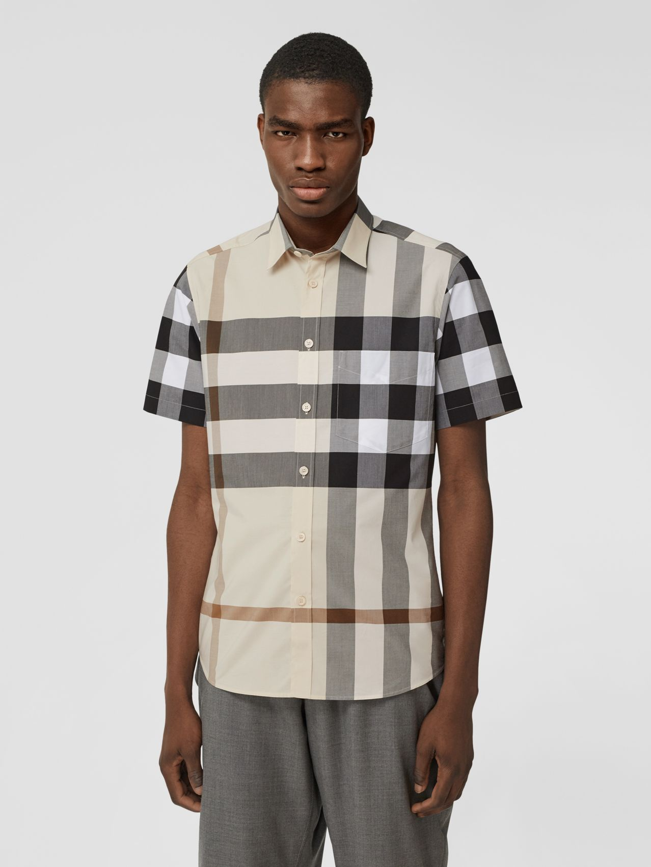 Short-sleeve Check Stretch Cotton Poplin Shirt in Modern Beige