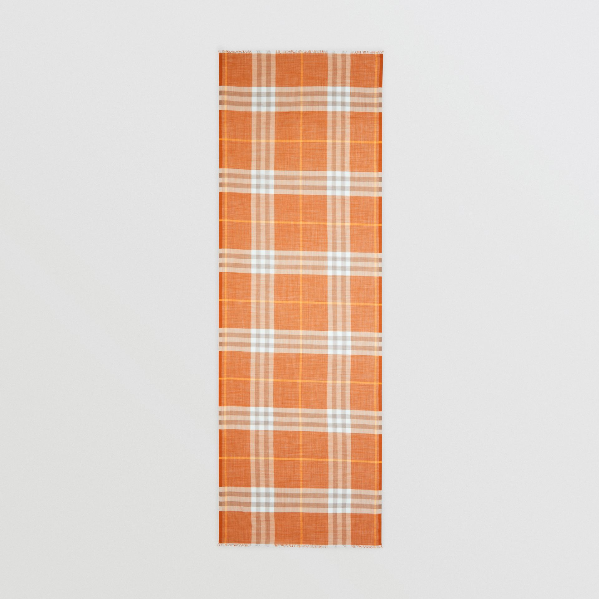 Lightweight Check Wool Silk Scarf in Bright Melon | Burberry United States - gallery image 3