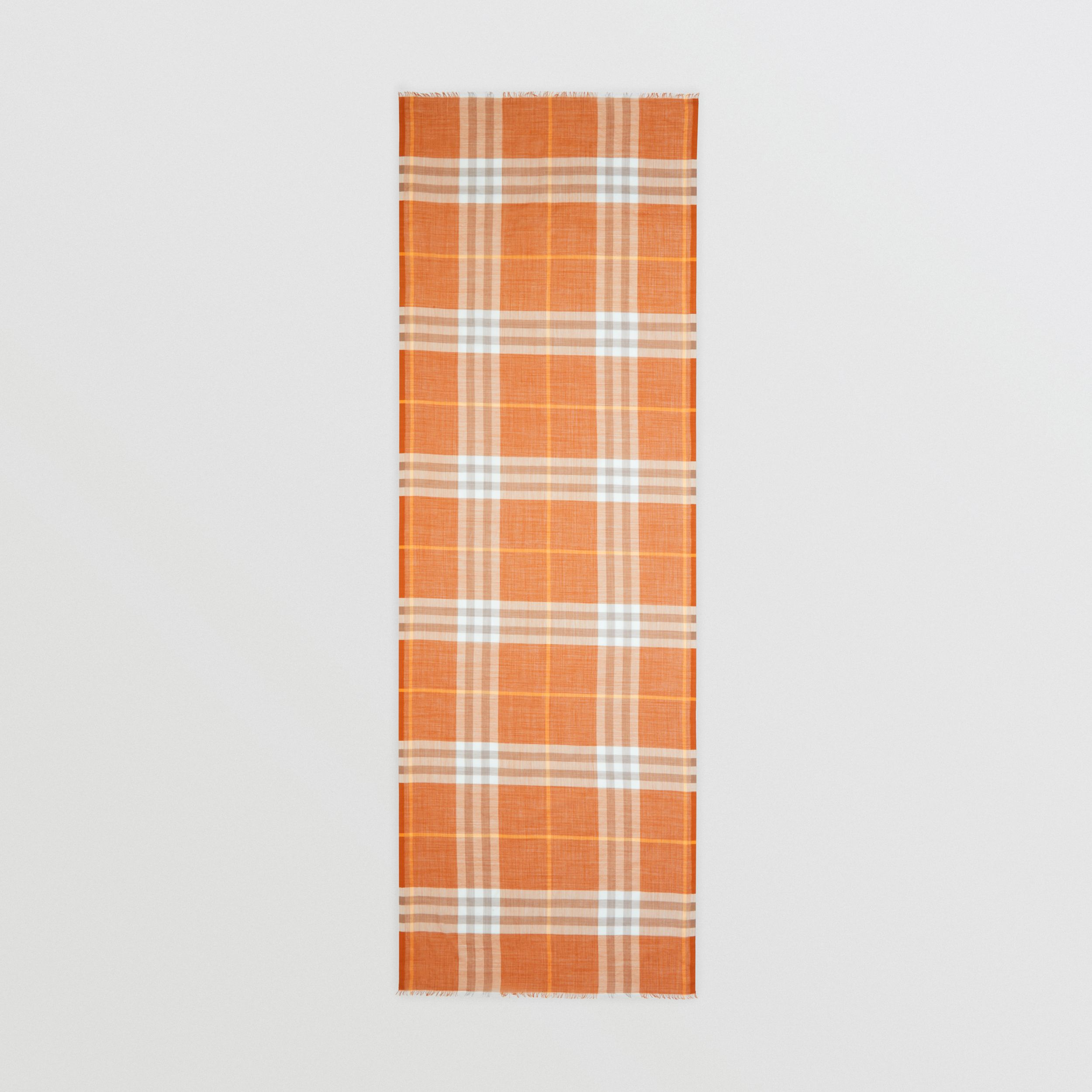 Lightweight Check Wool Silk Scarf in Bright Melon | Burberry - 4