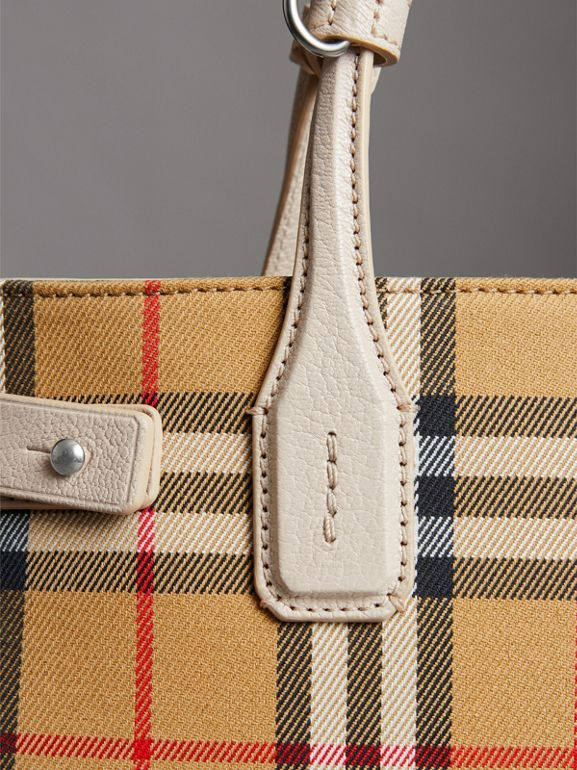 The Small Banner in Vintage Check and Leather in Limestone - Women | Burberry United Kingdom - cell image 1