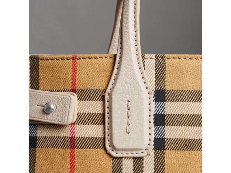 The Small Banner in Vintage Check and Leather in Limestone - Women | Burberry - cell image 1