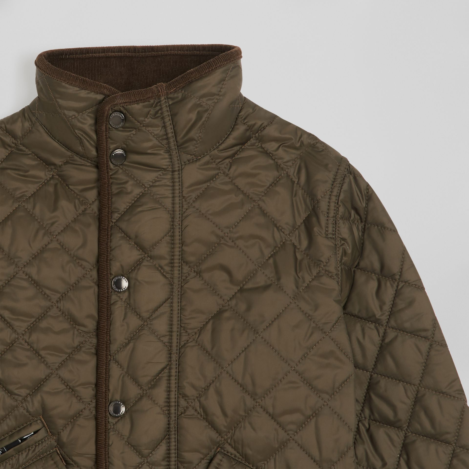 Lightweight Diamond Quilted Jacket in Olive | Burberry United States - gallery image 4