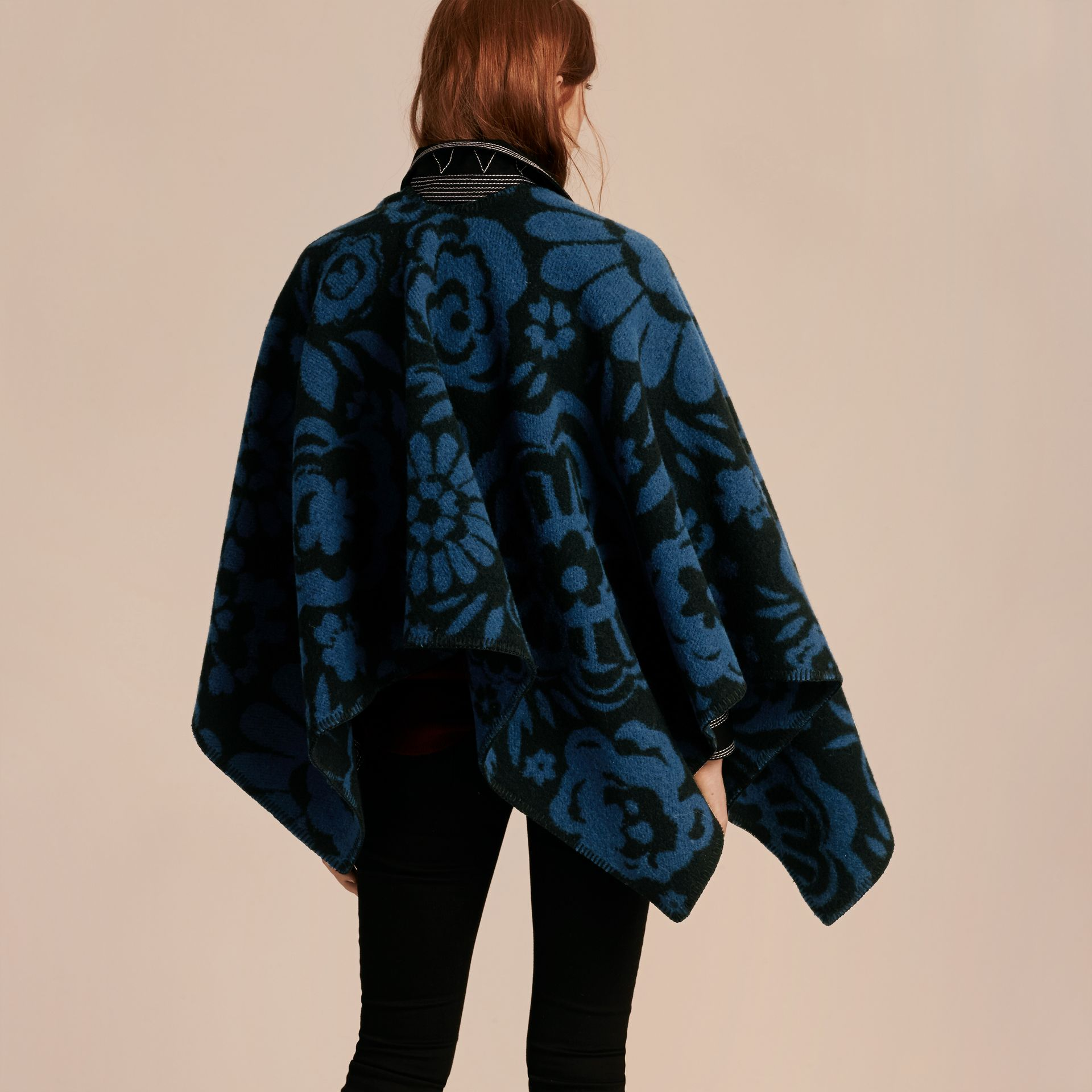 Marine blue Floral Jacquard Wool Cashmere Poncho - gallery image 3