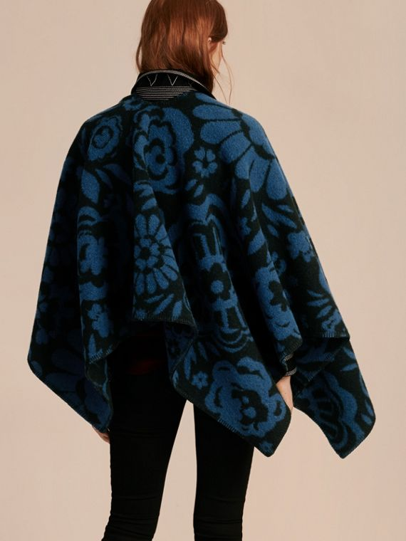 Marine blue Floral Jacquard Wool Cashmere Poncho - cell image 2