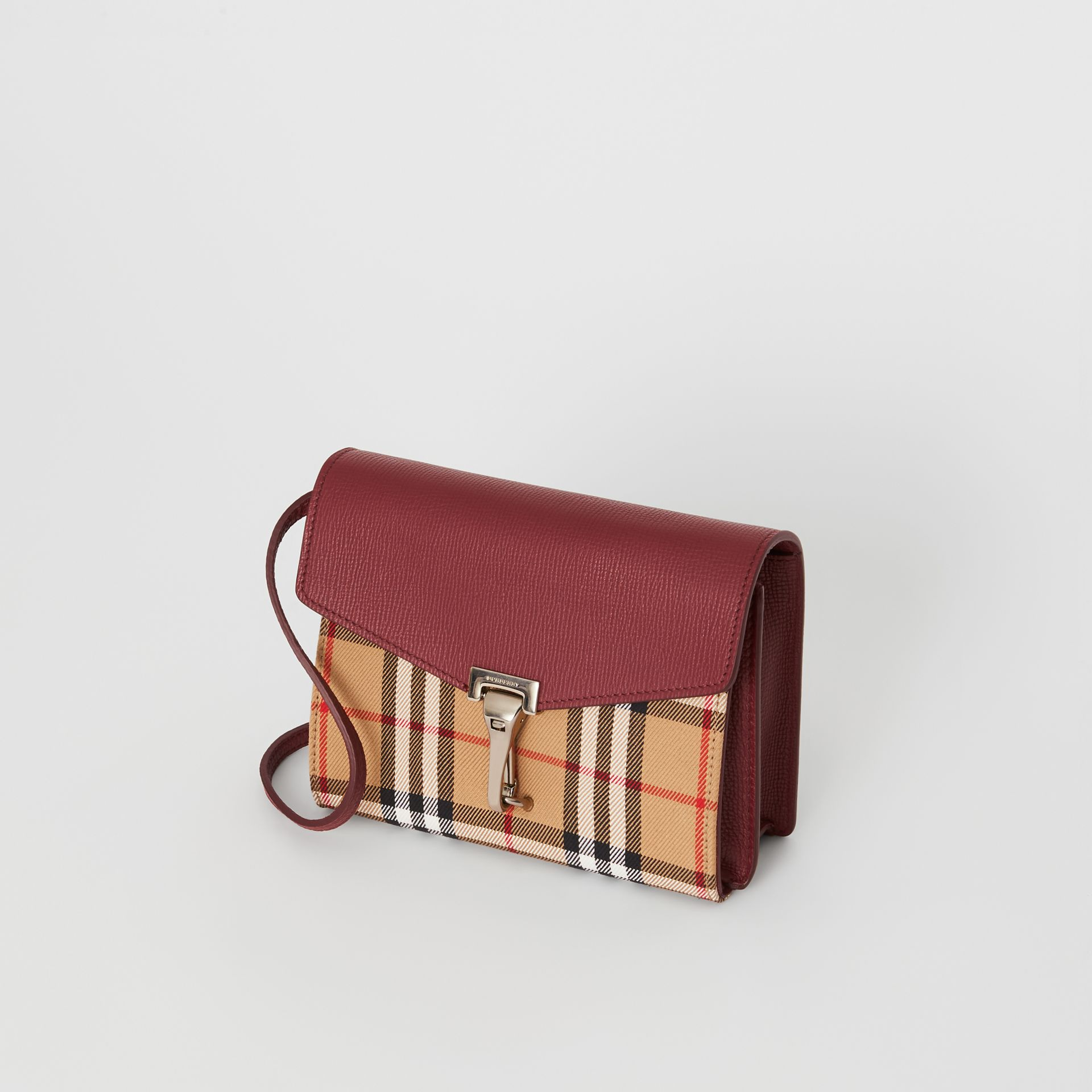 Mini Leather and Vintage Check Crossbody Bag in Crimson - Women | Burberry Australia - gallery image 2