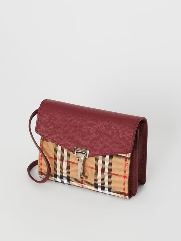 Mini Leather and Vintage Check Crossbody Bag in Crimson - Women | Burberry - cell image 2