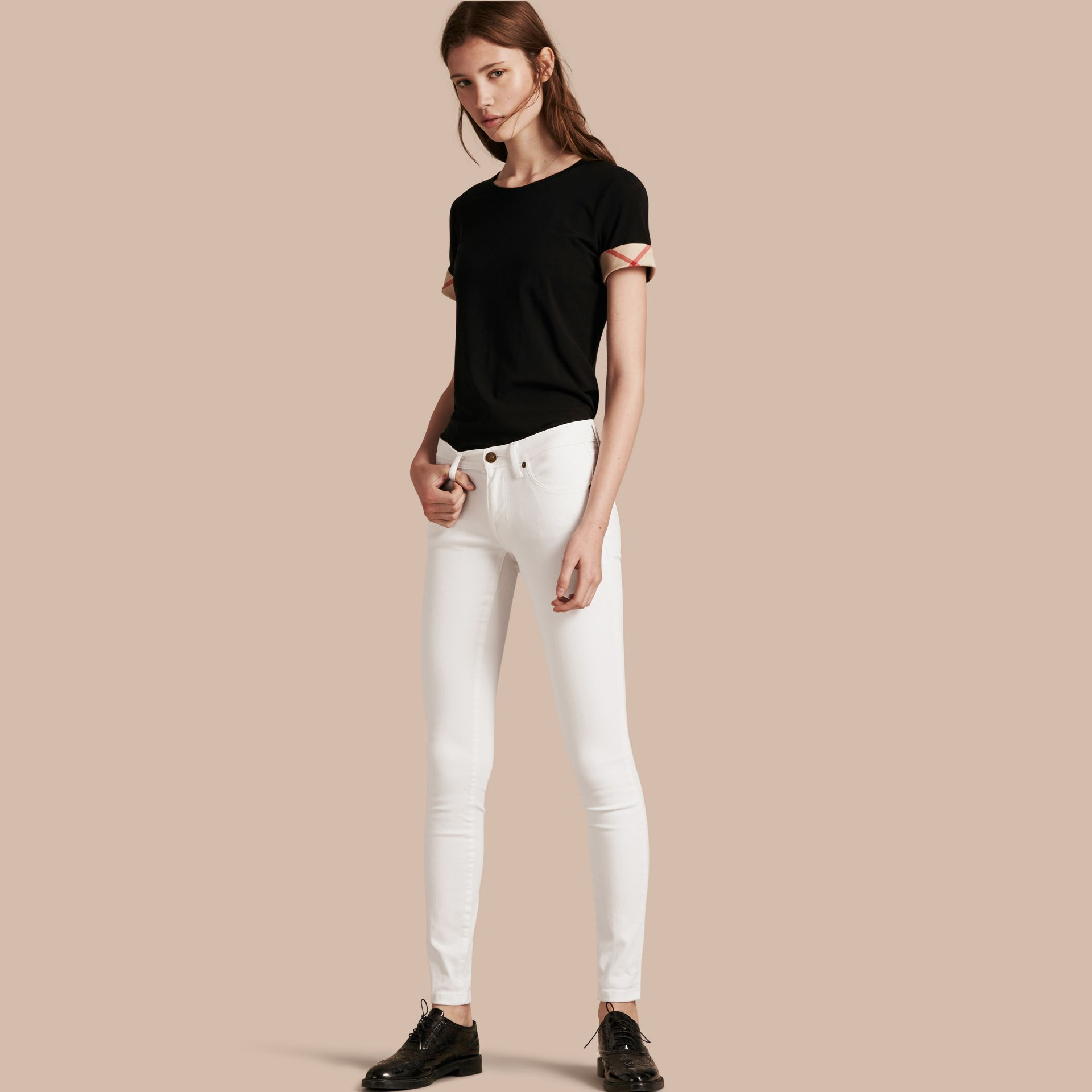 White Skinny Fit Low-Rise White Jeans - gallery image 1
