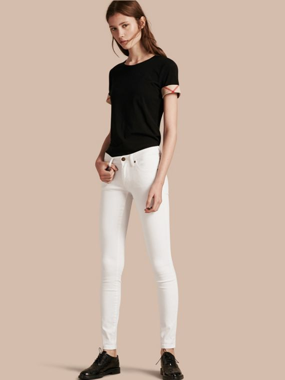 Skinny Fit Low-Rise White Jeans - Women | Burberry