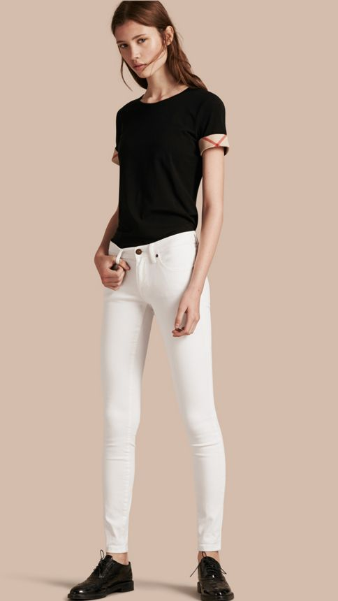 White Skinny Fit Low-Rise White Jeans - Image 1