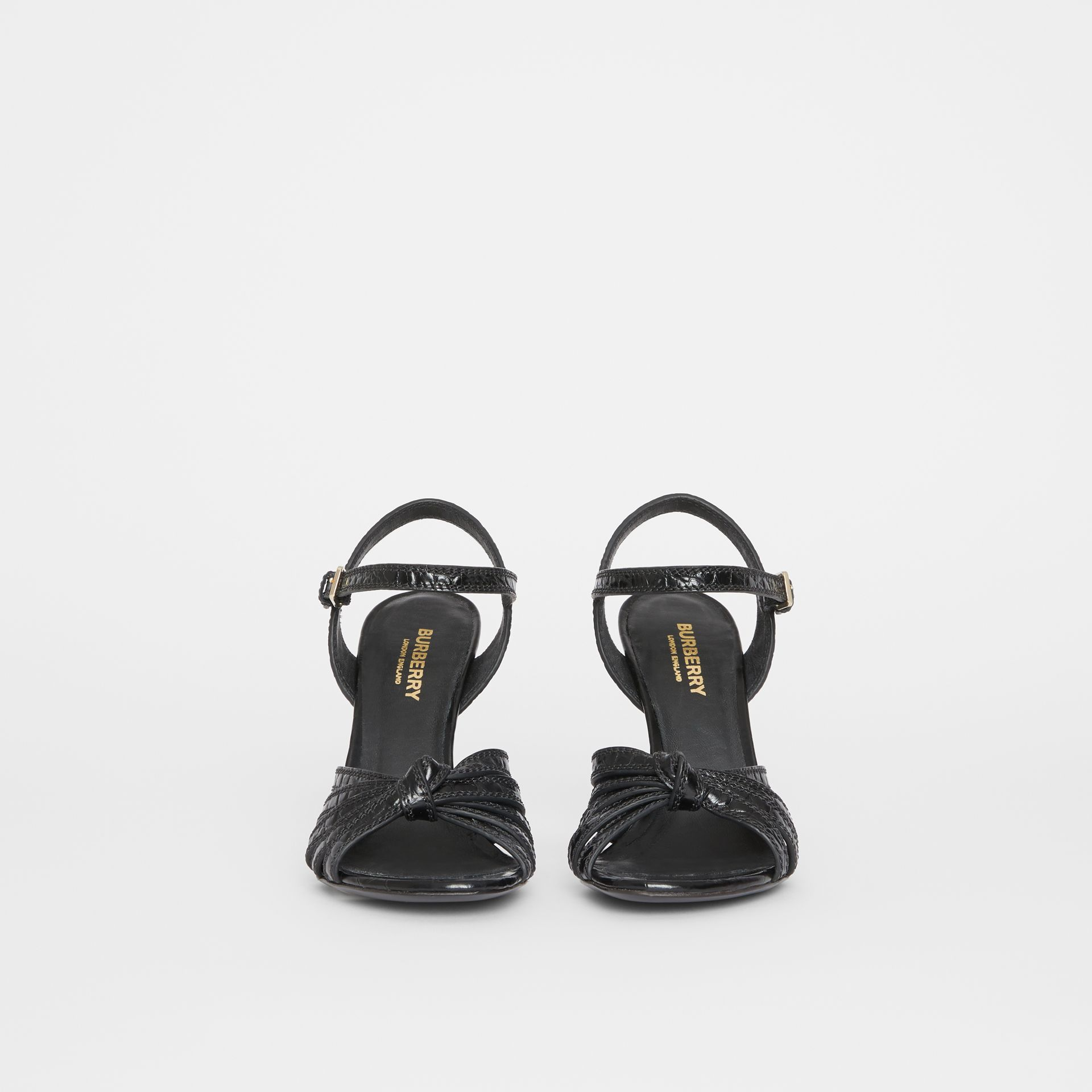 Knot Detail Embossed Leather Sandals in Black - Women | Burberry United States - gallery image 2