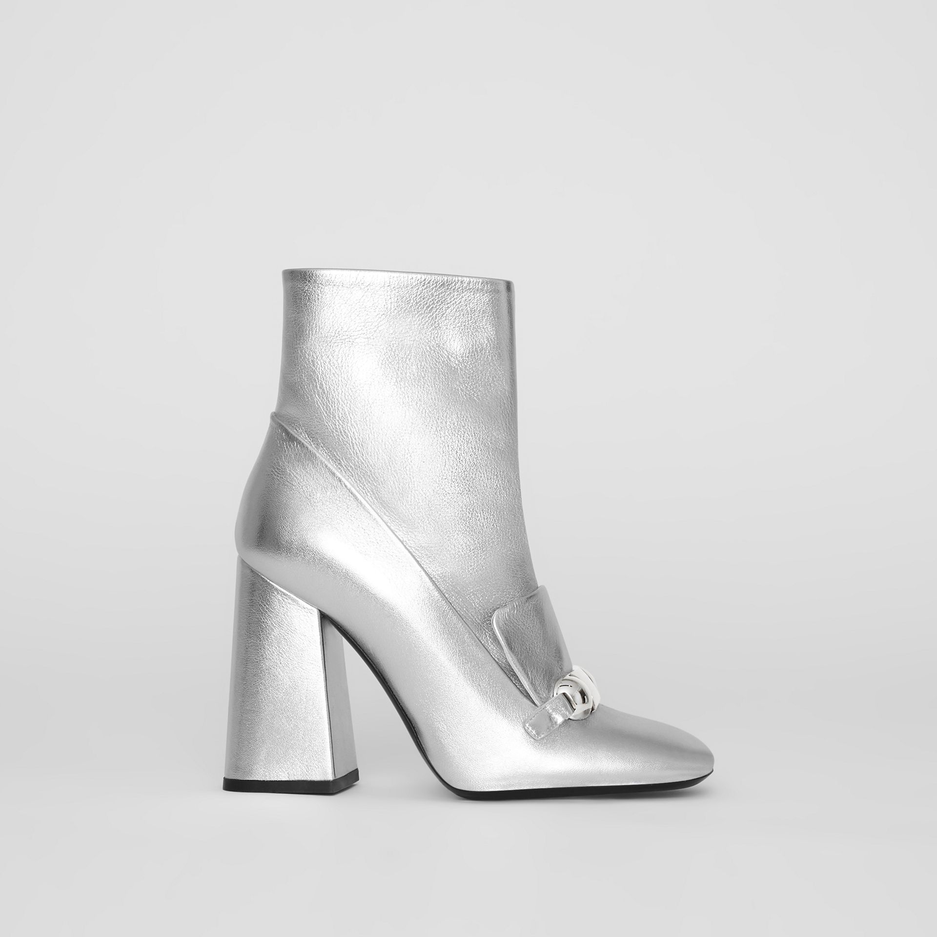 Studded Bar Detail Leather Ankle Boots in Silver - Women | Burberry United Kingdom - gallery image 0
