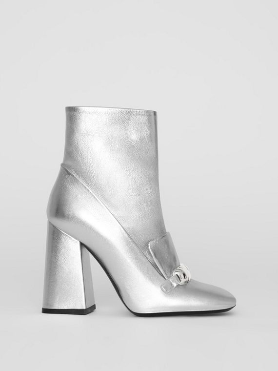 Studded Bar Detail Leather Ankle Boots in Silver