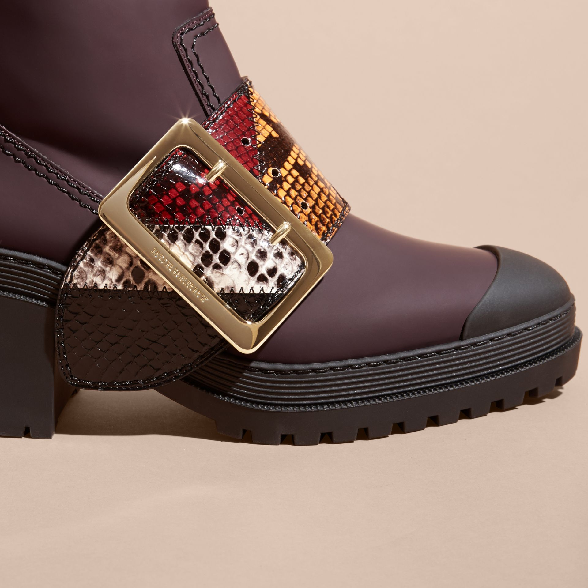 Dark claret The Buckle Boot in Rubberised Leather and Snakeskin - gallery image 2