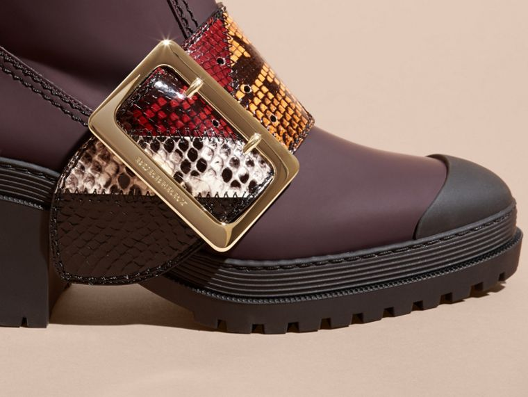 Dark claret The Buckle Boot in Rubberised Leather and Snakeskin - cell image 1