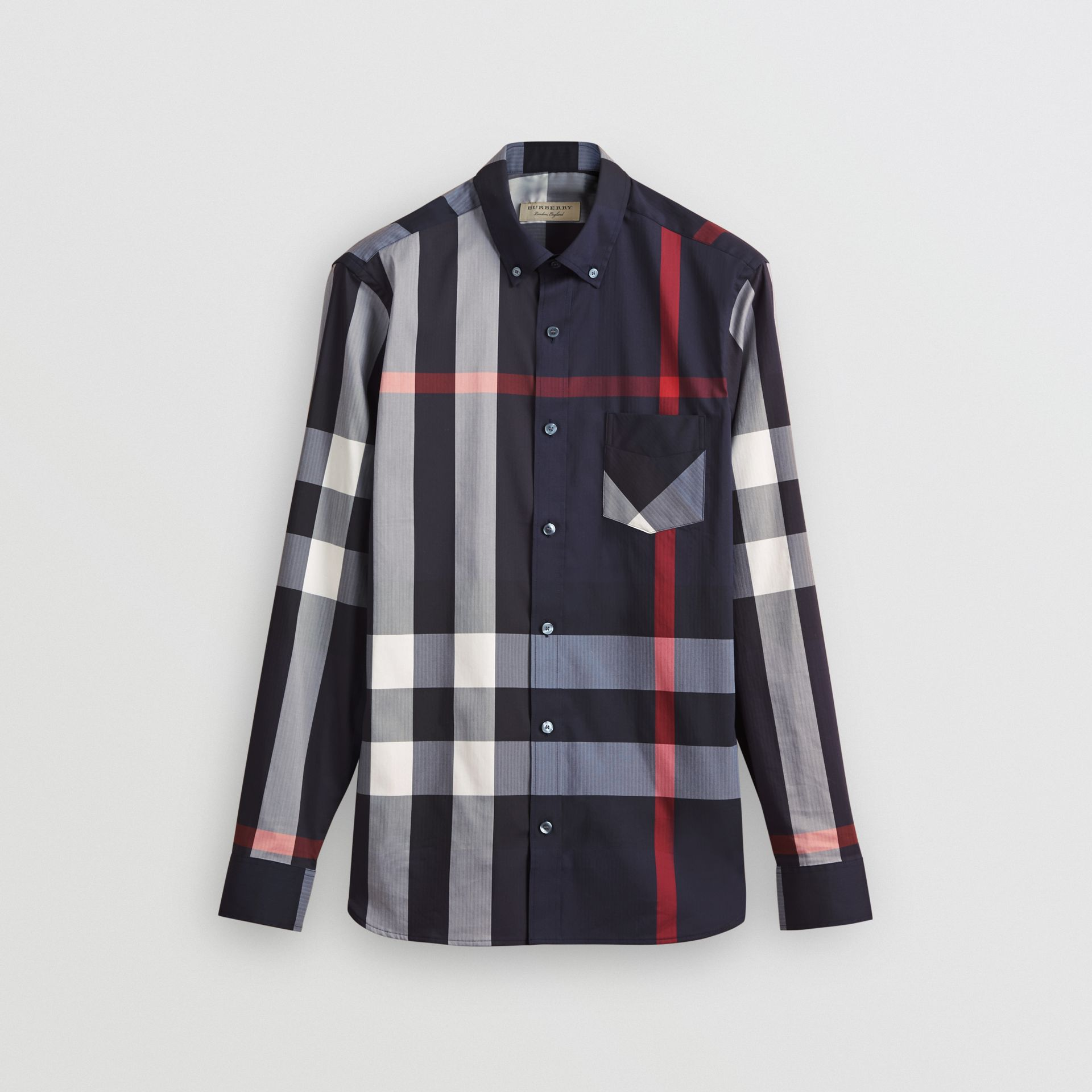 Button-down Collar Check Stretch Cotton Blend Shirt in Navy - Men | Burberry United Kingdom - gallery image 3