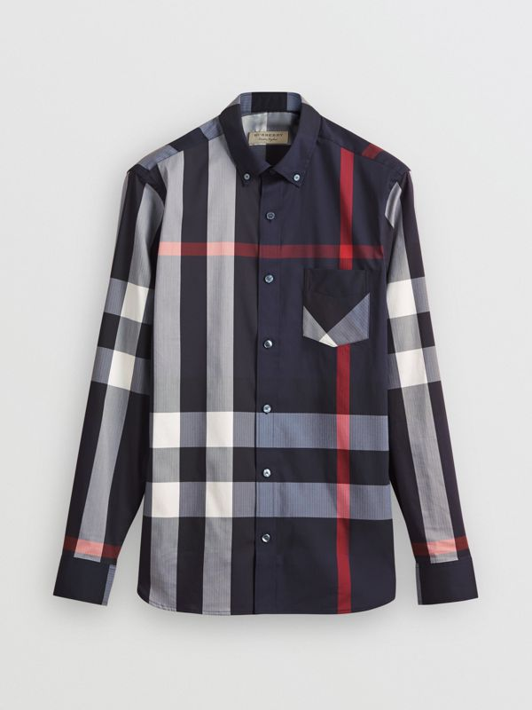 Button-down Collar Check Stretch Cotton Blend Shirt in Navy - Men | Burberry United Kingdom - cell image 3