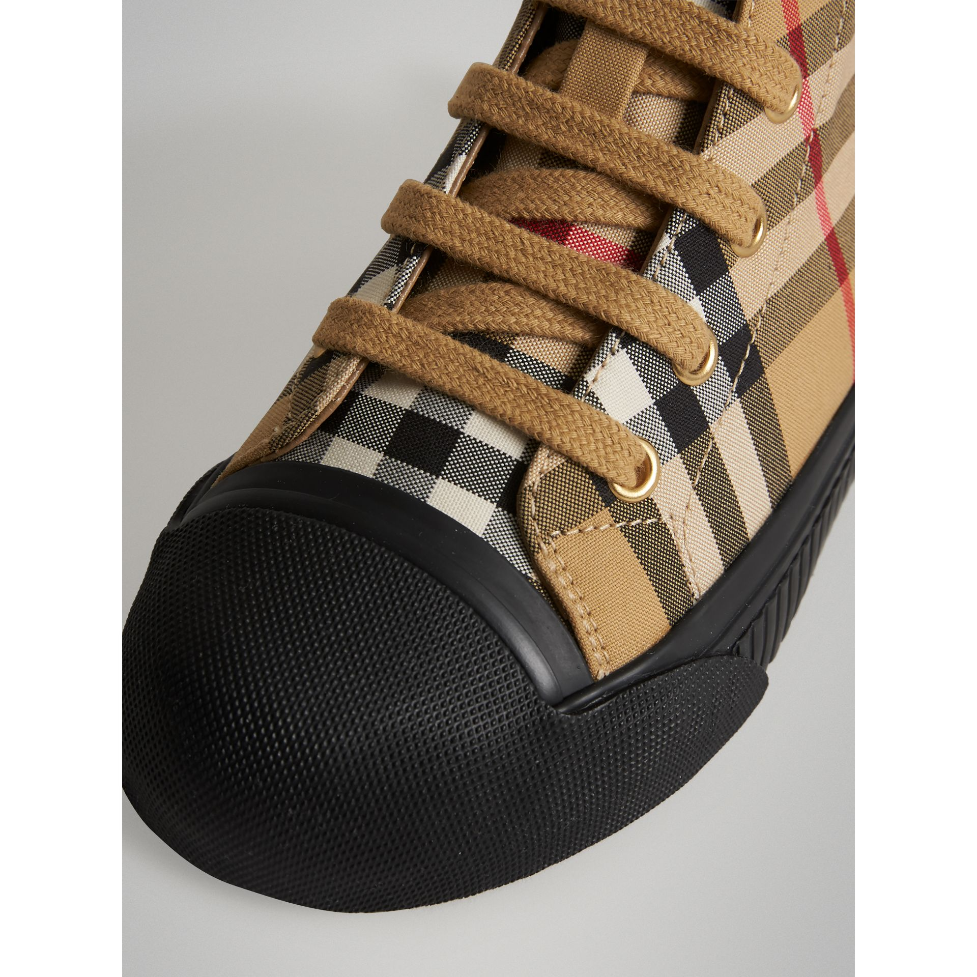 Vintage Check and Leather High-top Sneakers in Antique Yellow/black | Burberry Singapore - gallery image 1