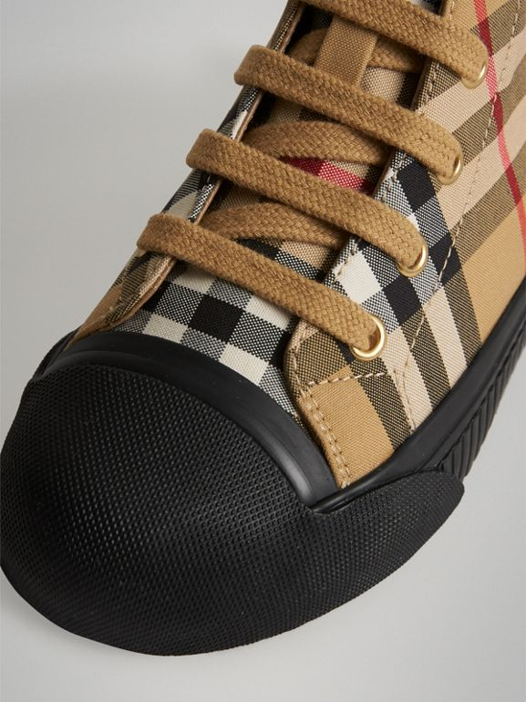 Vintage Check and Leather High-top Sneakers in Antique Yellow/black | Burberry Singapore - cell image 1