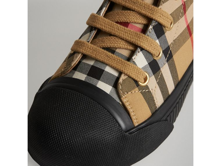 Vintage Check and Leather High-top Sneakers in Antique Yellow/black | Burberry Canada - cell image 1