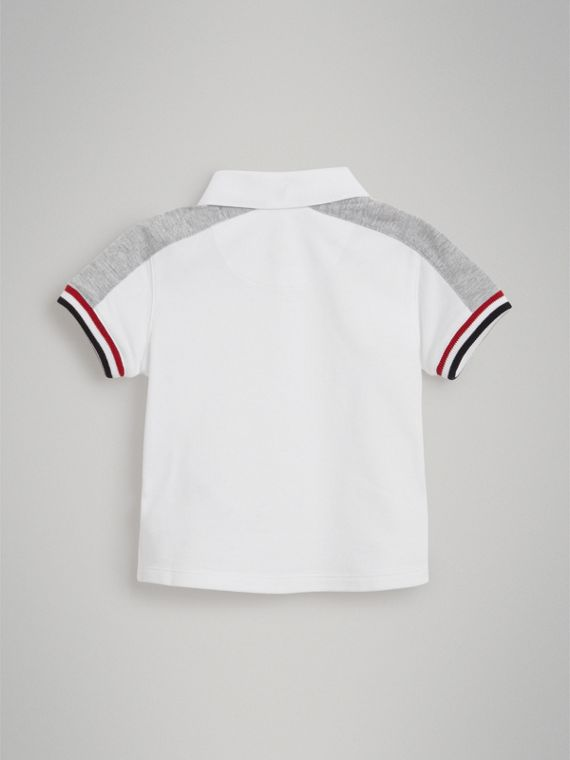 Stripe Detail Cotton Piqué Polo Shirt in White | Burberry United States - cell image 2