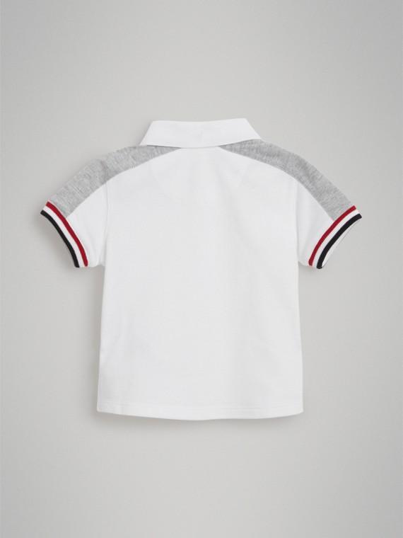 Stripe Detail Cotton Piqué Polo Shirt in White | Burberry Singapore - cell image 2
