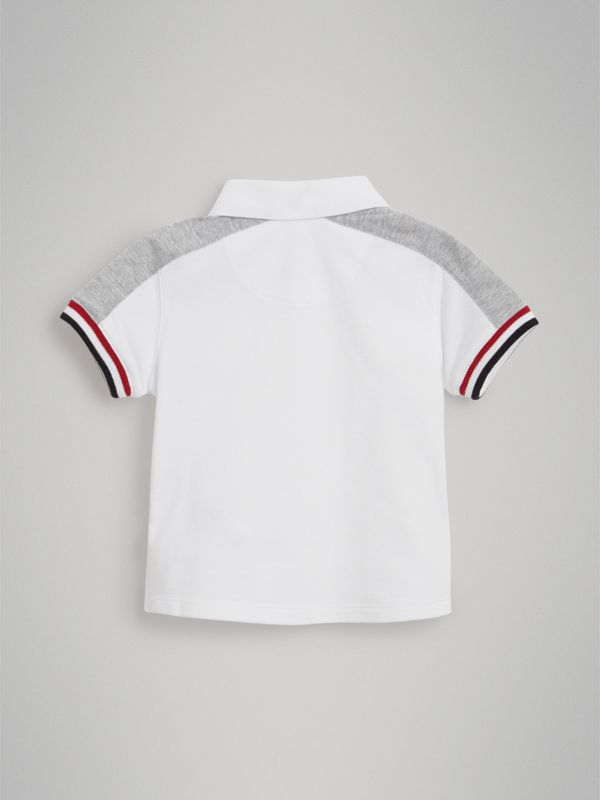 Stripe Detail Cotton Piqué Polo Shirt in White - Children | Burberry - cell image 2