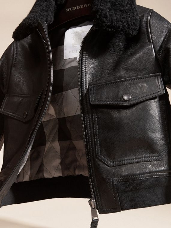Black Leather Blouson with Detachable Shearling Collar - cell image 2