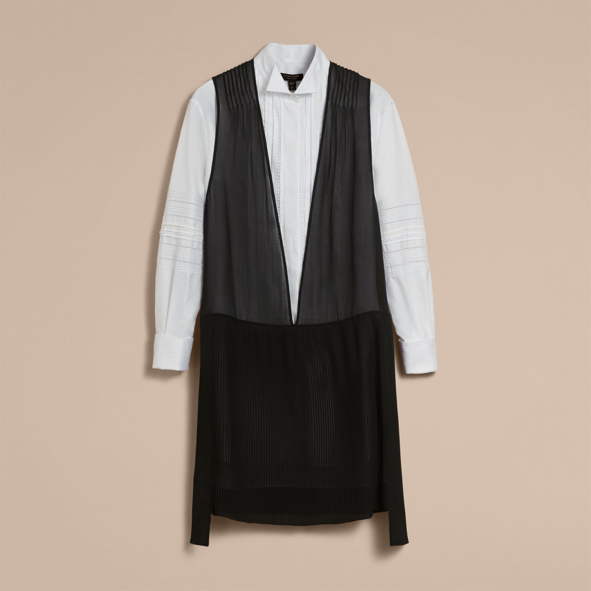 Silk and Cotton Dropped-waist Shirt Dress - Women | Burberry Australia - gallery image 4