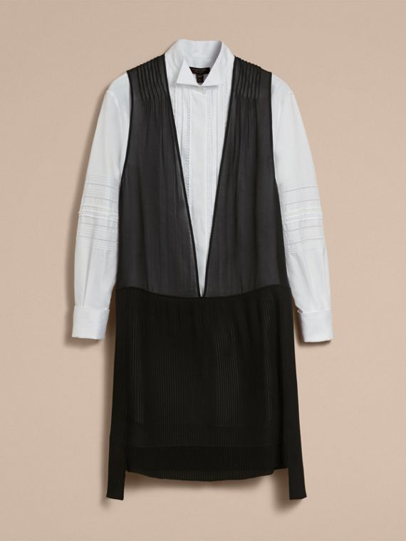 Silk and Cotton Dropped-waist Shirt Dress - Women | Burberry Australia - cell image 3
