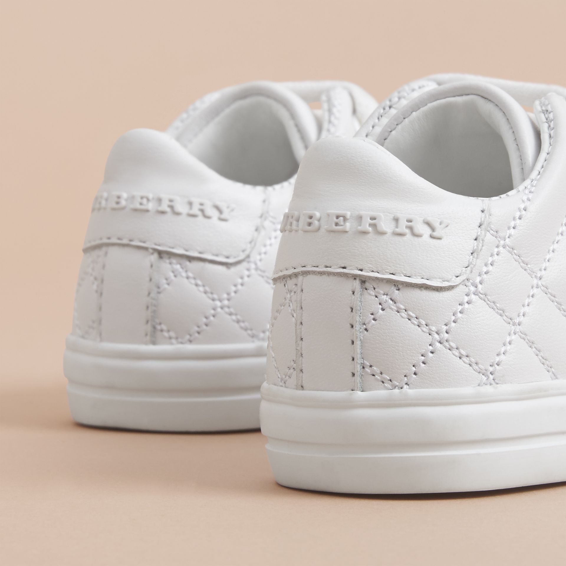 Check Detail Leather Trainers in Optic White | Burberry United States - gallery image 4