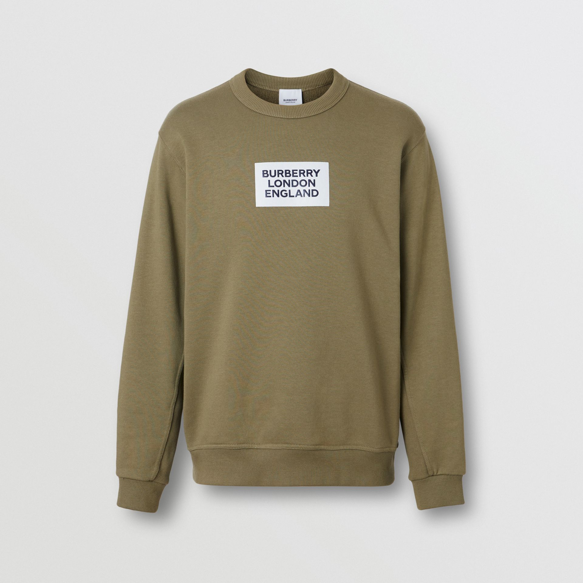Logo Print Cotton Sweatshirt in Dark Moss - Men | Burberry Australia - gallery image 3