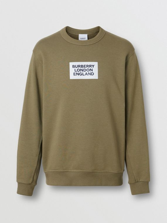Logo Print Cotton Sweatshirt in Dark Moss