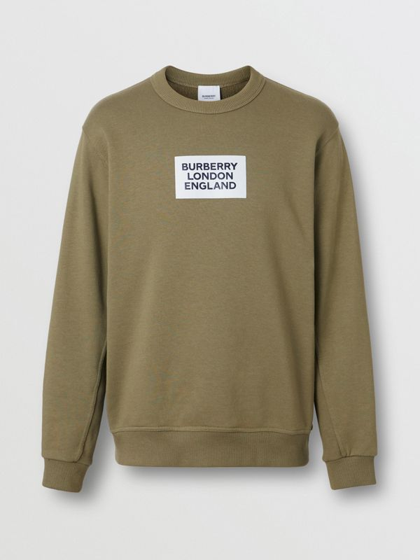 Logo Print Cotton Sweatshirt in Dark Moss - Men | Burberry Singapore - cell image 3