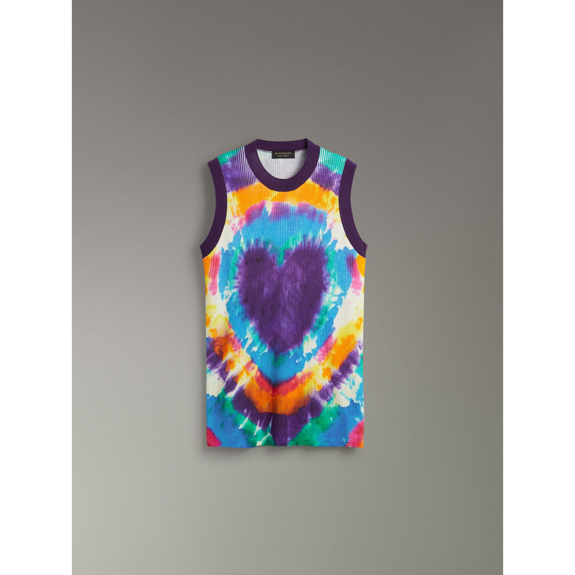 Tie-dye Print Cashmere Vest in Multicolour | Burberry - gallery image 3